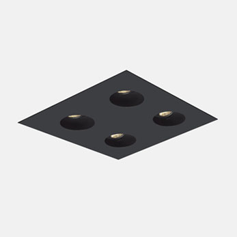 2x2 Trimmed Flanged Round Black
