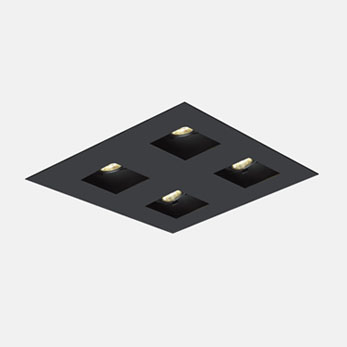 2x2 Trimmed Flanged Square Black