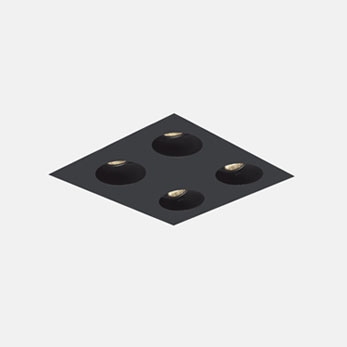 2x2 Trimmed Flangeless Round Black